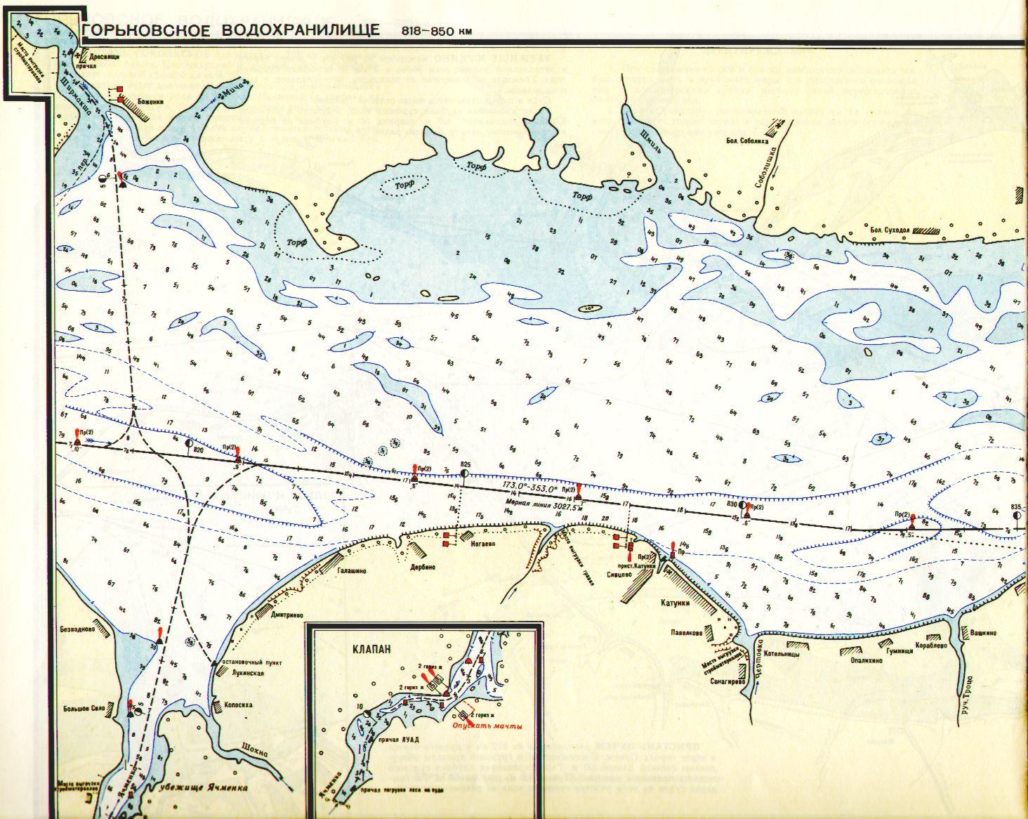 рыбацкая карта с обозначениями глубин
