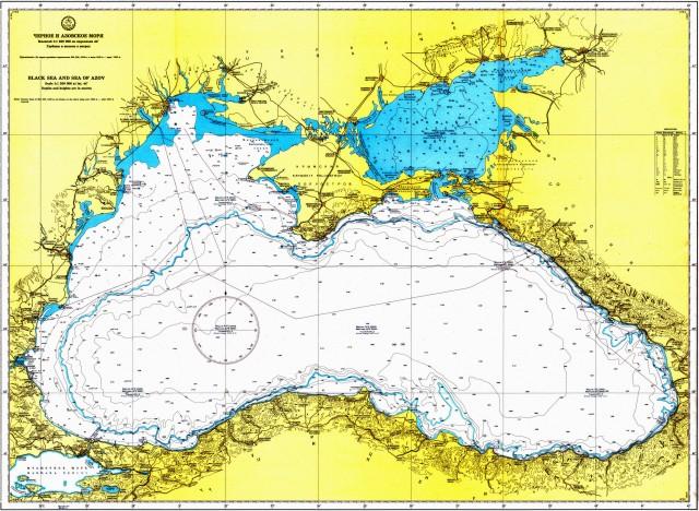 Чёрное и Азовское моря.  Глубины и высоты.